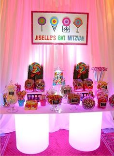 Dylan's Candy Bar Theme - Bat Mitzvah Dessert Buffet Table {Planner: Party Perfect, Photo: A Magic Moment} - mazelmoments.com