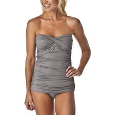 Bandeau Shirred One Piece Swimsuit - Silver