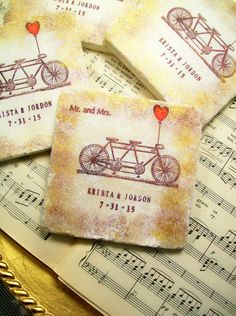 Bicycle Wedding Coasters - Mr. & Mrs. Tandem Bike Wedding Coaster Favors Set of 4 Personalized Wedding FOUR Different Sentiments