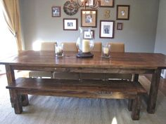 DIY tutorial for a farmhouse dining room table.