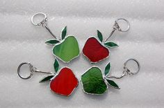 Glass Teachers Apple Key Ring / Key Chain by BluebirdsGlass, £5.00 @Crafty Folk