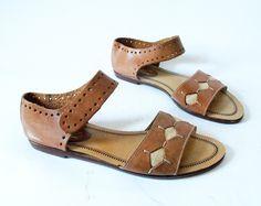 fd462d1d4fc Vintage Leather Sandals Size 8.5 Ankle Strap Diamond.  40.00