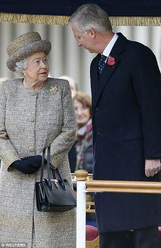 Britain's Queen Elizabeth and Belgium's King Philippe...
