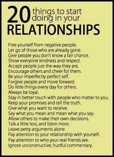 20 things to start doing in yourrelationshios