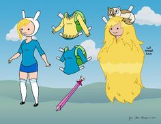 Adventure Time Fionna & Cake paper doll (page 1) * 1500 free paper dolls at Arielle Gabriels The International Paper Doll Society also free Asian paper dolls at The China Adventures of Arielle Gabriel *