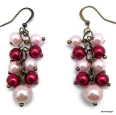 A personal favorite from my Etsy shop https://www.etsy.com/listing/241045718/pink-and-red-pearls-cluster-earrings-in