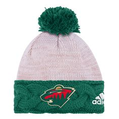 4ed51114a31 adidas Minnesota Wild Women s Natural Green Braided Cuffed Pom Knit Hat