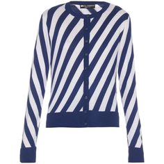 Dolce & Gabbana Diagonal-striped cardigan ($766) ❤ liked on Polyvore featuring tops, cardigans, blue top, button front tops, patterned cardigan, print cardigan and dolce gabbana top