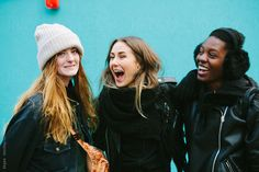 Group of young women having fun around London by kkgas - Stocksy United Young Women, Amazing Women, Have Fun, Rain Jacket, Windbreaker, The Unit, Shoulder Bag, Indian, Fashion Websites
