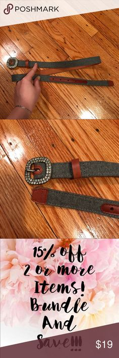 """NWOT Tommy Hilfiger fabric belt w/ rhinestone bkle Brand new wool fabric belt with genuine leather trim and rhinestone buckle   Color: grey wool/tan leather  Width: 7/8""""  Size: medium                                           Comes from pet free/smoke free environment. Check out my other items! ✨Bundle to save ✨ Tommy Hilfiger Accessories Belts"""