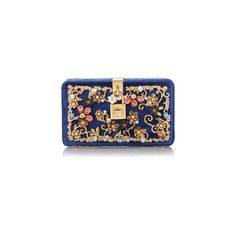 Dolce Gabbana (31,825 GTQ) ❤ liked on Polyvore featuring bags, handbags, clutches, blue clutches, dolce gabbana purse, dolce gabbana handbag, blue purse and velvet handbag