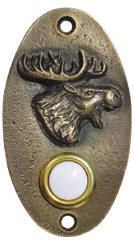 Buck Snort Lodge Moose Doorbell Antique Brass from Cabinet Knobs and More