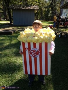 This is my son dressed up like a popcorn box. This costume was easy to make and got so much attention at the Halloween event we went to. Everyone was taking pictures with him and he loved all the attention. Boxing Halloween Costume, Lego Costume, Halloween Costume Contest, Boy Costumes, Costume Ideas, Children Costumes, Homemade Costumes For Kids, Diy Halloween Costumes For Kids, Creative Costumes