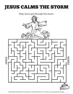 Jesus Calms The Storm Bible Mazes: With just enough challenge to make it fun, your kids are going to love these Jesus calms the storm Bible mazes. See if your kids can find their way through each twist and turn of of this beautifully designed Jesus calms the storm Bible activity.
