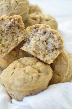 Healthy Banana Pecan Muffins! You are going to love these fluffy, moist muffins! Perfect as a quick snack or breakfast.