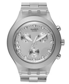 Swatch Watch, Unisex Swiss Chronograph Full-Blooded Silver-Tone Aluminum Bracelet 43mm SVCK4038G