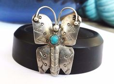 Navajo BUTTERFLY Sterling Silver Turquoise Southwest Native American Pin Brooch #Handmade#Navajo #navajojewelry #butterflyjewelry #turquoisejewelry #southwestjewelry #southwesternjewelry #sterlingjewelry #vintagejewelry #vintagesterlingjewelry #vintagesilverjewelry #butterflybrooch #butterfly