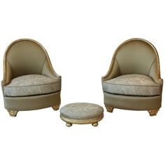 Embroidered and Gold Leaf Salon Chairs attributed to Paul Follot