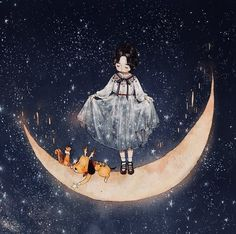 Only if I can collect those stars shining bright in the night sky in my arms… I won't be able to take my eyes off. Illustration Mignonne, Children's Book Illustration, Art Anime Fille, Anime Art Girl, Mode Poster, Moon Drawing, Forest Girl, Girl And Dog, Moon Art