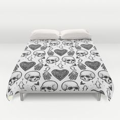 Ghostly Dreams II duvet cover: $89 This design is also available as a pillow, print, mug, and much more on my Society 6 webstore, please check it out! #fashion #tote #bag #purse #accessories #pillow #design #interiordesign #decoration #decorating #bedroom #interior #inspiration #home #bed #bedding #duvet #bedspread #skull #skulls #ghost #creepy #edgy #grunge #white #illustration #society6 #print