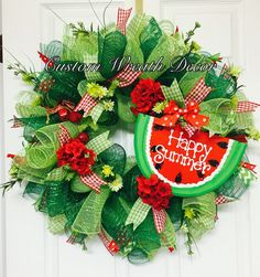 Watermelon Wreath, Summer Watermelon Wreath, Happy Summer Watermelon Wreath, Watermelon Deco Mesh Wreath - Lilly is Love Summer Deco, Spring Summer, Wreath Crafts, Diy Wreath, Wreath Ideas, Flag Wreath, Wreath Making, Plywood Furniture, Deco Furniture