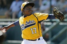 Chicago pitcher Joshua Houston (17) delivers during the first inning against Lynnwood, Washington during a baseball game in United States pool play at the Little League World Series tournament in South Williamsport, Pa., Thursday, Aug. 14, 2014. Chicago won 12-2. (AP Photo/Gene J. Puskar) ▼14Aug2014AP|Chicago's Jackie Robinson West creating LLWS buzz http://bigstory.ap.org/article/chicagos-jackie-robinson-west-creating-llws-buzz