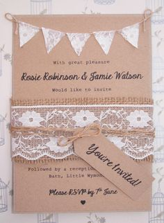 Rustic Wedding Invitation Lace Bunting on Kraft Card with Burlap and Lace band .  Are you tying the knot soon? Try something different with
