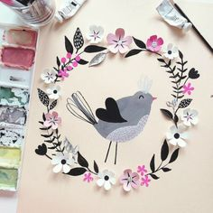 hanna nyman - paint and papercut illustration of bird and flowers