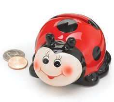 Cute Ladybug Mini Piggy Bank Adorable Gift Item And Collectable Ladybug Collection http://smile.amazon.com/dp/B002UKLVMY/ref=cm_sw_r_pi_dp_uuZkub0G9CYAS