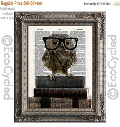 New to EcoCycled on Etsy: SALE Adorable Nerdy Owl with Glasses on Books on Vintage Upcycled Dictionary Art Print Book Art Print Recycled Reading Read Books (8.50 USD)