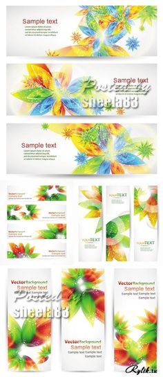 Баннеры с абстрактными красочными цветами. Spring Flowers Banners Vector