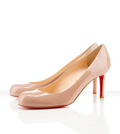 Louboutin 'simple pump' in nude patent leather.  If I could wear one pair of shoes for the rest of my life...