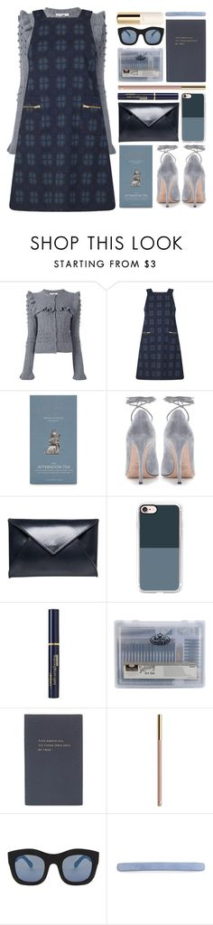 """afternoon tea"" by foundlostme ❤ liked on Polyvore featuring Philosophy di Lorenzo Serafini, Miss Selfridge, Valentino, Beaumont Organic, Casetify, Black Radiance, Smythson, Illesteva, L. Erickson and H&M"