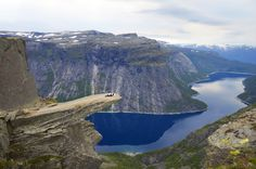 Trolltunga (Troll's tongue) is a piece of rock jutting horizontally out of a mountain about 700 metres (2,300 ft) above the north side of the lake Ringedalsvatnet in the municipality of Odda in Hordaland county, Norway.  The cliff is located east of the Skjeggedal area, about 10 kilometres (6.2 mi) east of the village of Tyssedal and the Sørfjorden (a branch off of the main Hardanger Fjord). The name translated to English is The Troll's tongue.