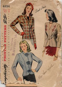 Simplicity 4494 1940s Misses Splendidly Styled Jacket Womens Vintage Sewing Pattern