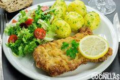 Schnitzel o escalope vienés Comme Un Chef, Le Chef, Empanadas, Salmon Burgers, Baked Potato, Potatoes, Chicken, Baking, Ethnic Recipes