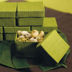 Natural 2 Piece Woven Wedding Favor Boxes - Grass Green - Shop on WeddingWire!
