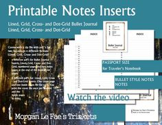 Passport Size Notes and Bullet Journal inserts,  Lined, Grid, Cross- and Dot-Grid