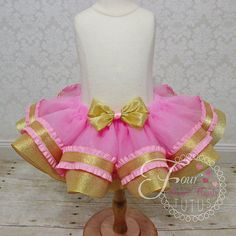Custom Pink and Gold Tutu First Birthday by FourSweetHeartsTutus
