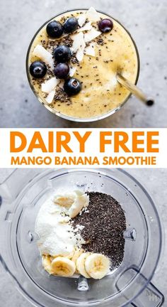 This easy recipe for dairy free mango banana smoothie will become a breakfast favorite at your house. You can add spinach for a nutritional boost and make it with almond milk or another non dairy milk. Refreshing, healthy, and made with frozen mango. #movementmenu #smoothie #dairyfree #breakfast #mango Dairy Free Recipes Easy, Best Paleo Recipes, Gluten Free Recipes For Dinner, Banana Recipes, Easy Healthy Recipes, Whole Food Recipes, Snack Recipes, Drink Recipes, Healthy Snacks