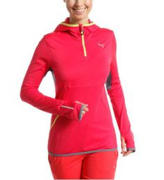 Women's Running Hooded Top: Women's Running Hooded Top: This warm hooded top from PUMA Running is here to tackle the cold winter months so you don't have to stay in on a freezing day when all you want to do is to get out there and get your running session started.  warmCELL keeps you warm: Highly functionaland breathable materials retain heat close to your body to maintain youroptimum temperature when it's cold outside. Mesh inserts for improved air circulationat critical heat zones…