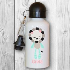 Children's Water bottle with Motif and Name-Design: Lion In Kindergarten, Aluminium, Steampunk, Water Bottle, Etsy, Entering School, Names, Craft Gifts, Flasks