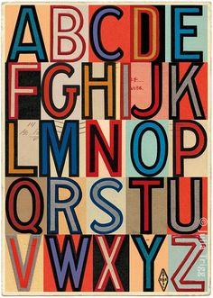 Retro art print, or nursery alphabet. A to Z print using typographic ephemera - fine art giclée. Retro Typography, Hand Lettering Alphabet, Cool Lettering, Vintage Typography, Typography Letters, Graphic Design Typography, Lettering Design, Alphabet In Different Fonts, Zentangle