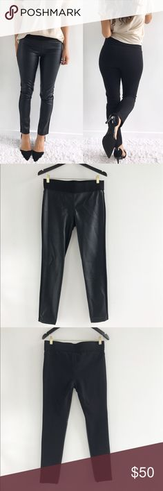 """Lauren Ralph Lauren Black Faux Leather Leggings Lauren Ralph Lauren Black Faux Leather Leggings! Blogger styled leggings. Super comfortable and stretchy. Excellent condition, no flaws. Skinny. Faux leather in the front. Viscose polyester nylon elastane blend. Waist-32"""" hips-34"""" inseam-30"""" length-38.5"""" size 6. Lauren Ralph Lauren Pants Leggings"""
