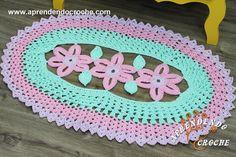 Tapete de Crochê Oval Princesa - Receita de Croche com o Passo a Passo no Link https://aprendendocroche.com/receitas-de-croche/video-aula.asp?resid=1660&tree=11
