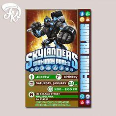 New Giants Arte Skylanders Birthday Party Card Digital Invitation Kid Birthday…