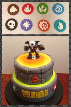 Skylanders cake. All fondant with toy topper.