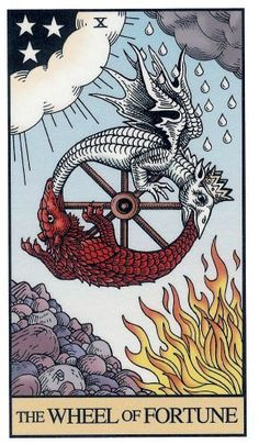 "Free Daily Tarotscope -- July 24, 2014 -- Wheel of Fortune -- Today's card — from the Alchemical Tarot — is one of the best modern versions of the Wheel of Fortune that I've seen. It's so rich in symbolism and yet so simplistic, with the ""wheel"" made of two dragons, each swallowing the other's tail. .. (more)..."