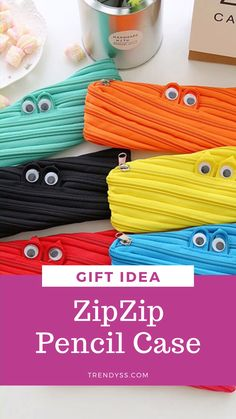 ZipZip is a pencil or pen case organizer. It's creative and cute. It's one of the best gift ideas. The case can transform into a zipper. It's kind of DIY stationary.