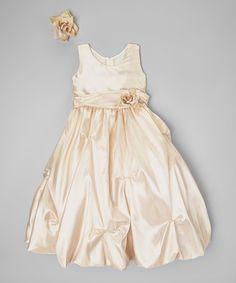 Look what I found on #zulily! Champagne Flower Dress - Toddler & Girls #zulilyfinds